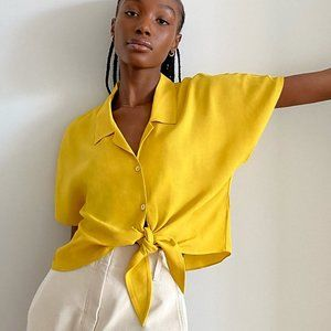 Aritzia Wilfred Free Tie-Front Yellow Blouse M NWT